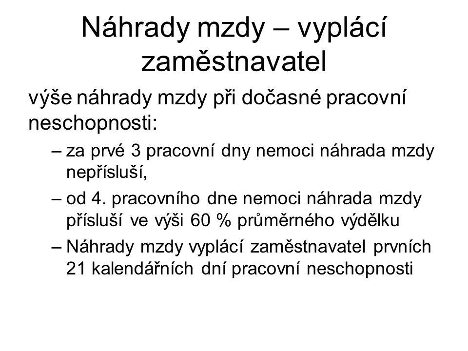 Nemocenská – vyplácí SZZ Nemocenskou vyplácí Správa sociálního zabezpečení od 22.