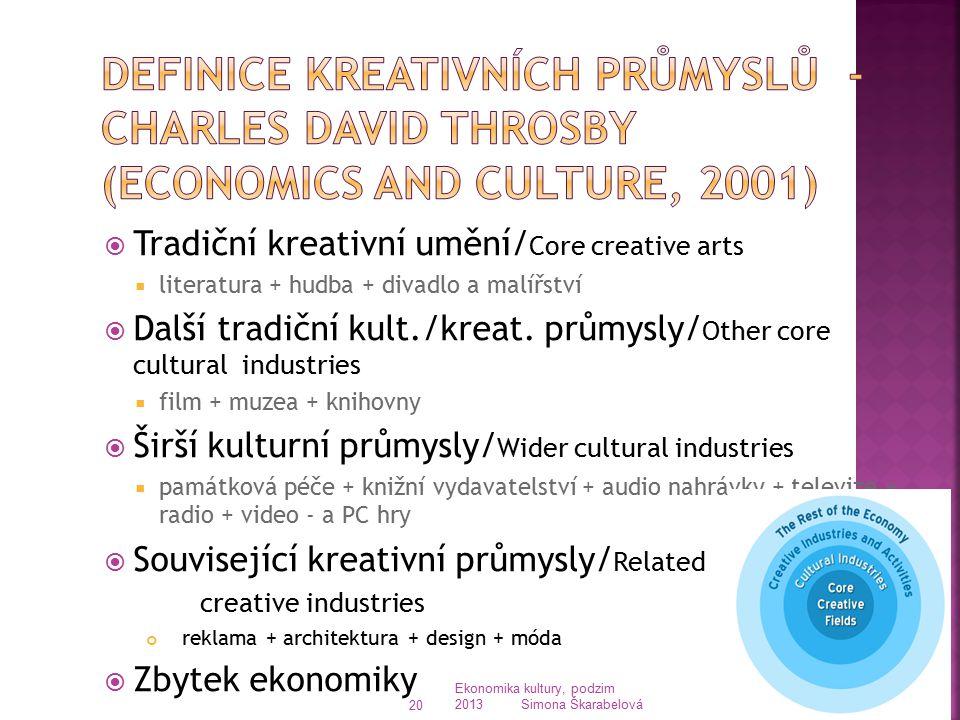  Tradiční kreativní umění/ Core creative arts  literatura + hudba + divadlo a malířství  Další tradiční kult./kreat. průmysly/ Other core cultural