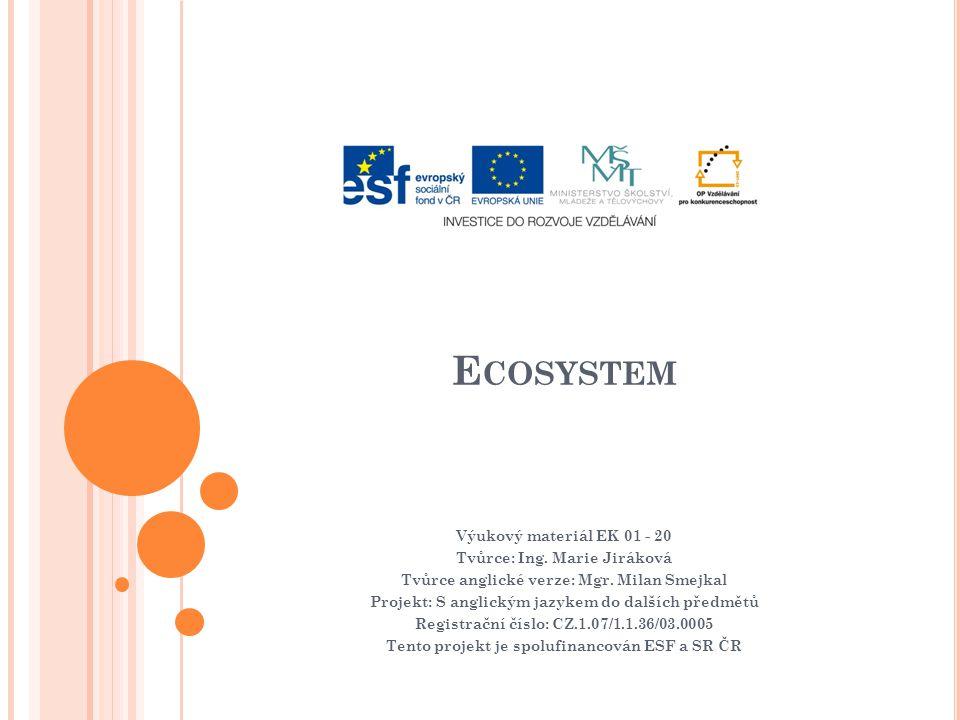 E COSYSTEM Výukový materiál EK 01 - 20 Tvůrce: Ing.
