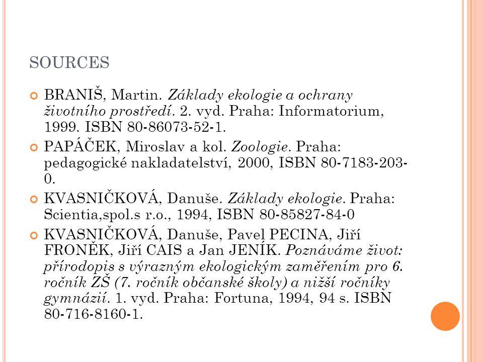 SOURCES BRANIŠ, Martin. Základy ekologie a ochrany životního prostředí. 2. vyd. Praha: Informatorium, 1999. ISBN 80-86073-52-1. PAPÁČEK, Miroslav a ko
