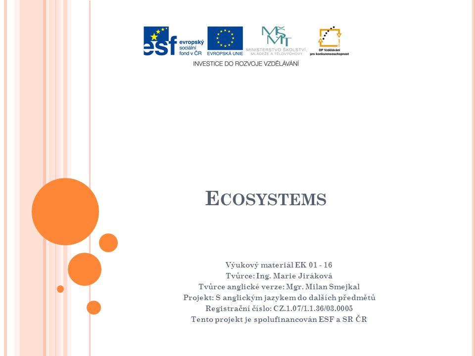 E COSYSTEMS Výukový materiál EK 01 - 16 Tvůrce: Ing.