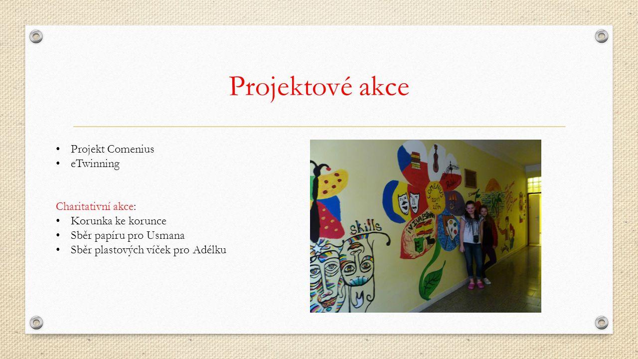 Projektové akce Projekt Comenius eTwinning Charitativní akce: Korunka ke korunce Sběr papíru pro Usmana Sběr plastových víček pro Adélku