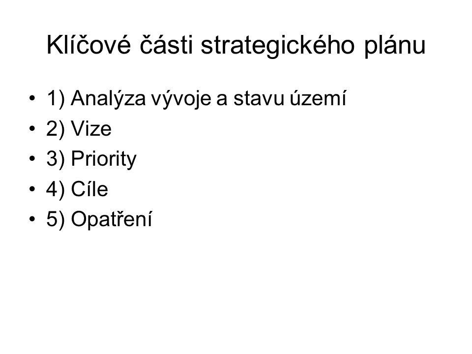 Klíčové části strategického plánu 1) Analýza vývoje a stavu území 2) Vize 3) Priority 4) Cíle 5) Opatření