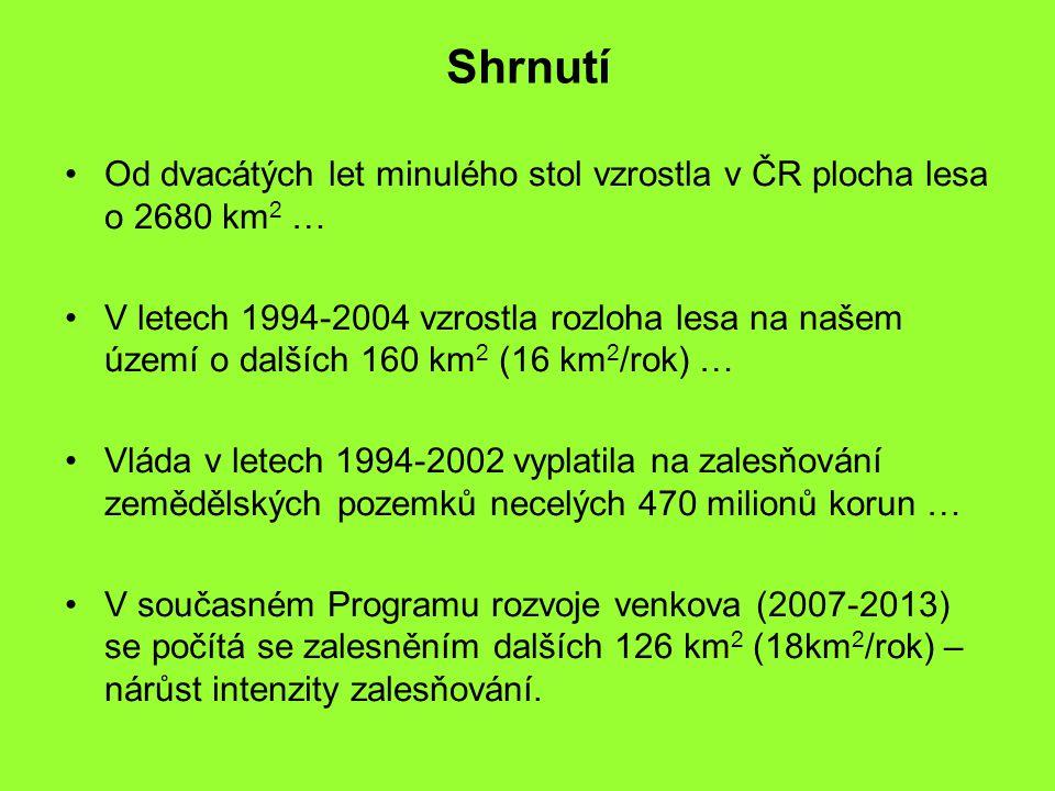 Shrnutí Od dvacátých let minulého stol vzrostla v ČR plocha lesa o 2680 km 2 … V letech 1994-2004 vzrostla rozloha lesa na našem území o dalších 160 k