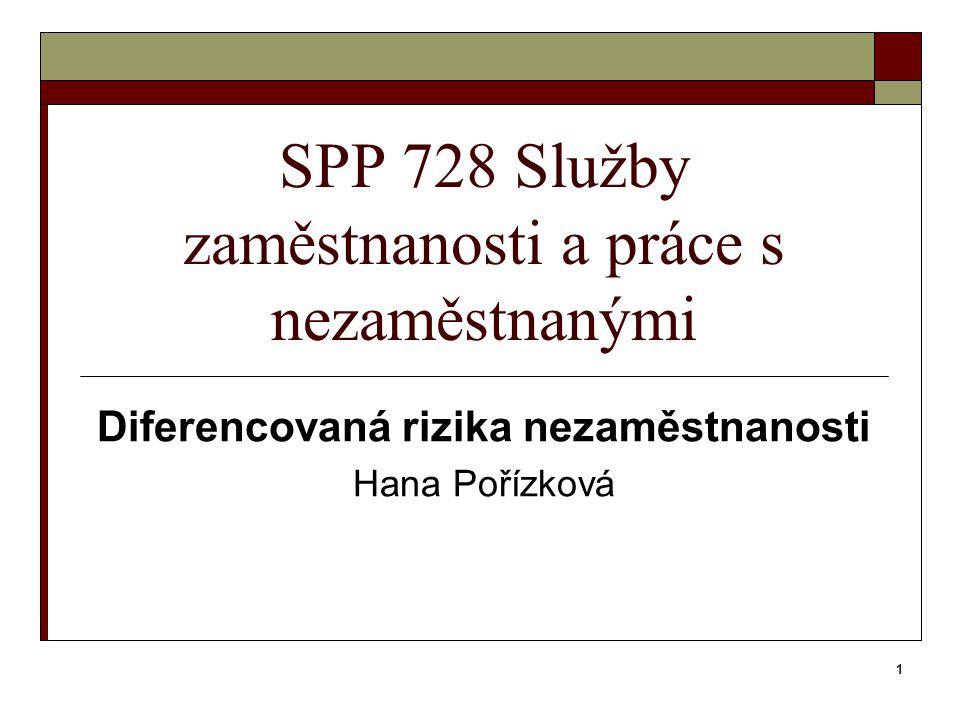 1 SPP 728 Služby zaměstnanosti a práce s nezaměstnanými Diferencovaná rizika nezaměstnanosti Hana Pořízková