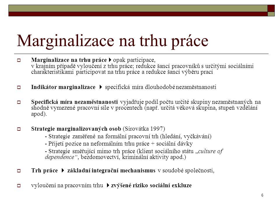 6 Marginalizace na trhu práce  Marginalizace na trhu práce  opak participace, v krajním případě vyloučení z trhu práce; redukce šancí pracovníků s u