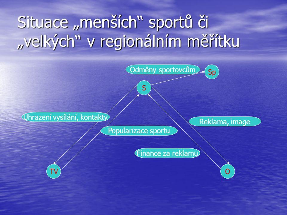 """Situace """"menších sportů či """"velkých v regionálním měřítku TVO S Popularizace sportu Uhrazení vysílání, kontakty Finance za reklamu Reklama, image Sp Odměny sportovcům"""