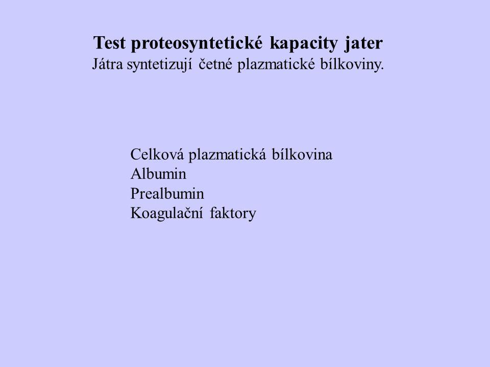 Test proteosyntetické kapacity jater Játra syntetizují četné plazmatické bílkoviny.
