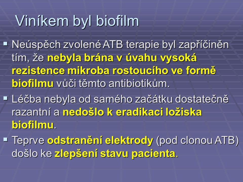 Viníkem byl biofilm  Neúspěch zvolené ATB terapie byl zapříčiněn tím, že nebyla brána v úvahu vysoká rezistence mikroba rostoucího ve formě biofilmu