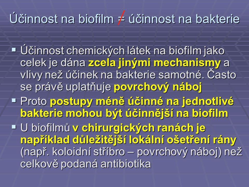 Účinnost na biofilm = účinnost na bakterie  Účinnost chemických látek na biofilm jako celek je dána zcela jinými mechanismy a vlivy než účinek na bak