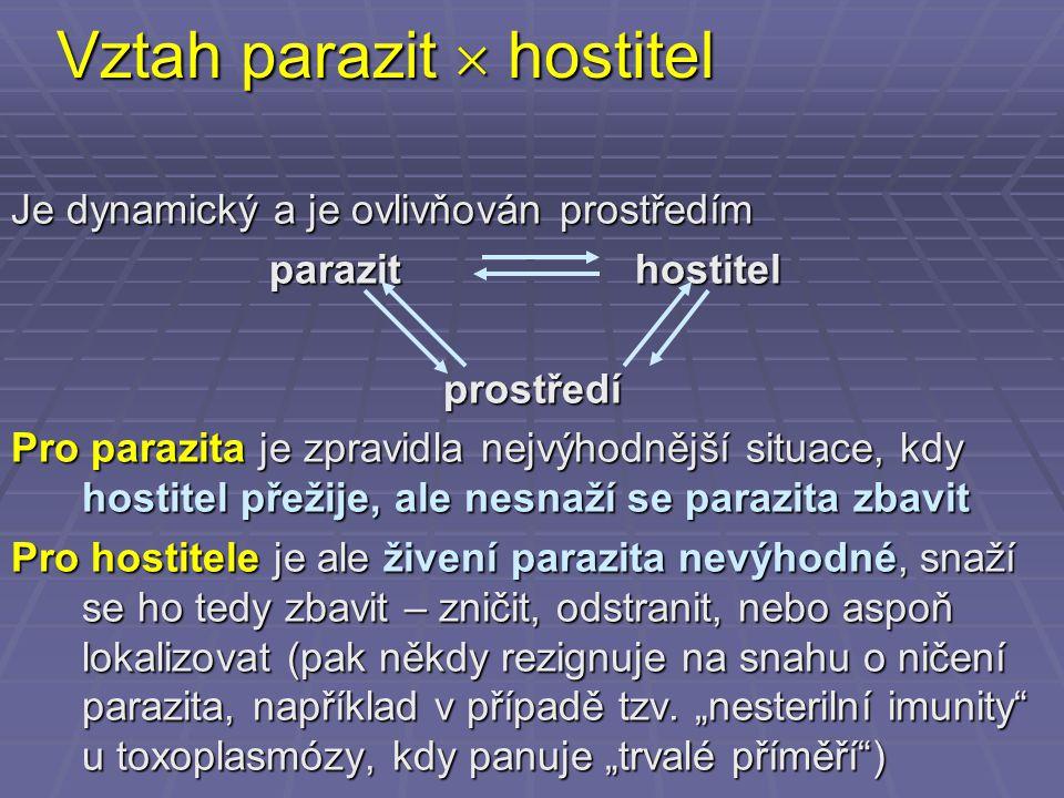 Vztah parazit  hostitel Je dynamický a je ovlivňován prostředím parazit hostitel parazit hostitelprostředí Pro parazita je zpravidla nejvýhodnější si