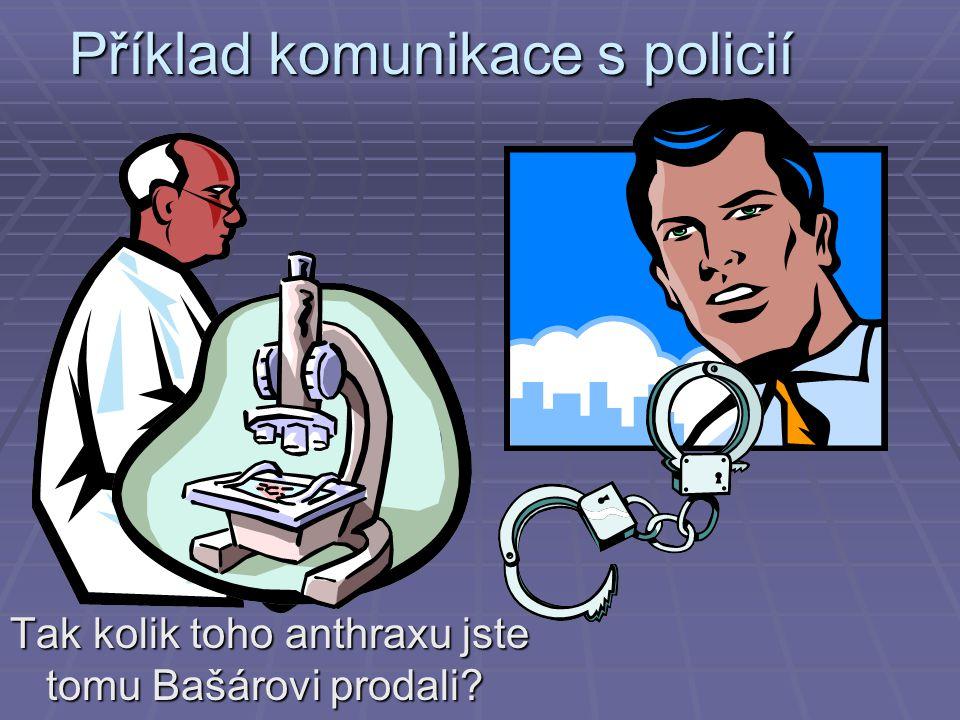 Příklad komunikace s policií Tak kolik toho anthraxu jste tomu Bašárovi prodali?