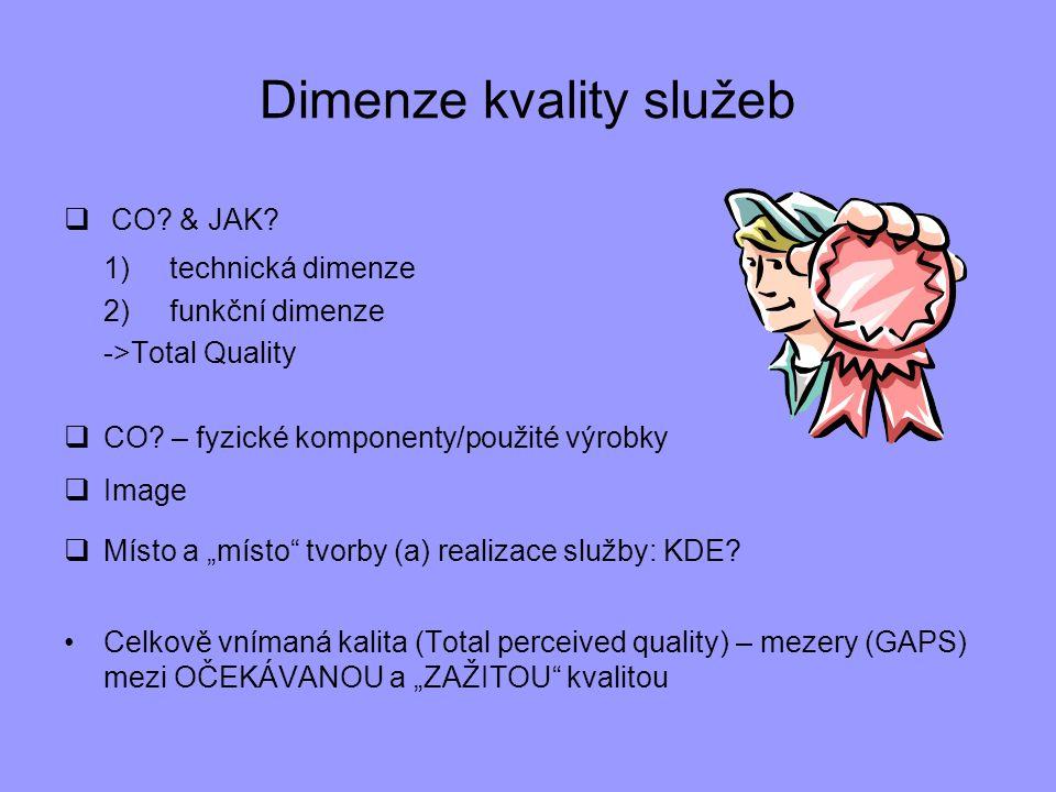 Dimenze kvality služeb  CO? & JAK? 1)technická dimenze 2)funkční dimenze ->Total Quality  CO? – fyzické komponenty/použité výrobky  Image  Místo a