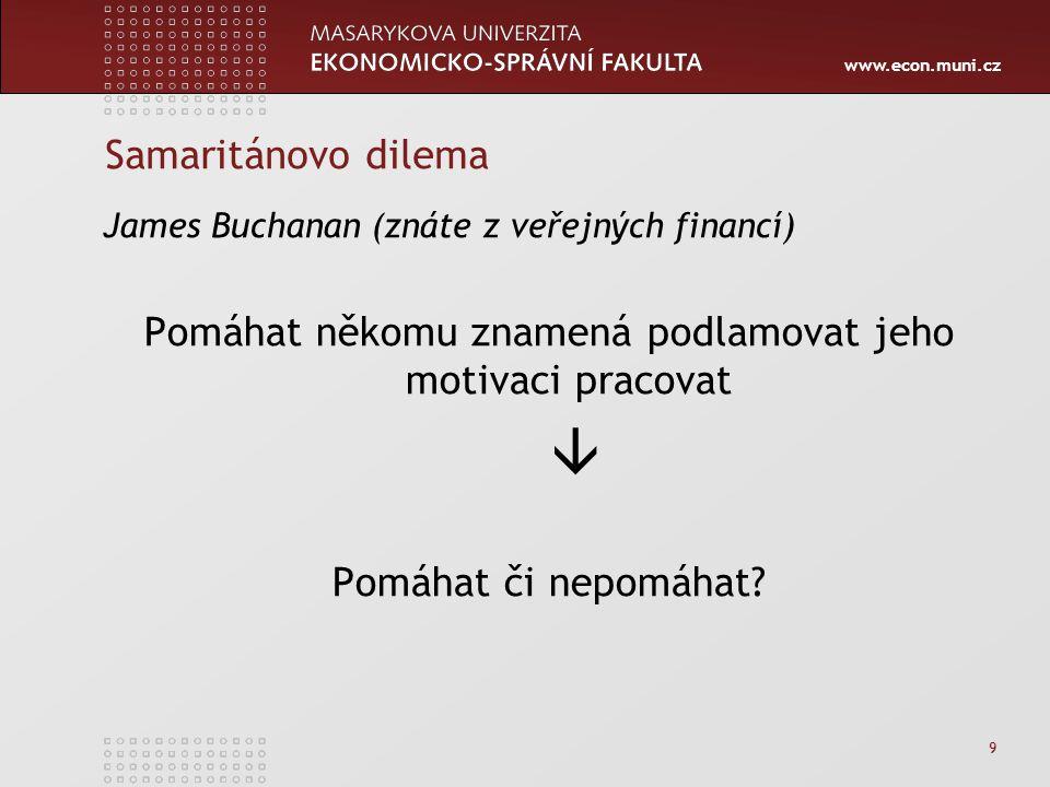 www.econ.muni.cz 9 Samaritánovo dilema James Buchanan (znáte z veřejných financí) Pomáhat někomu znamená podlamovat jeho motivaci pracovat  Pomáhat či nepomáhat