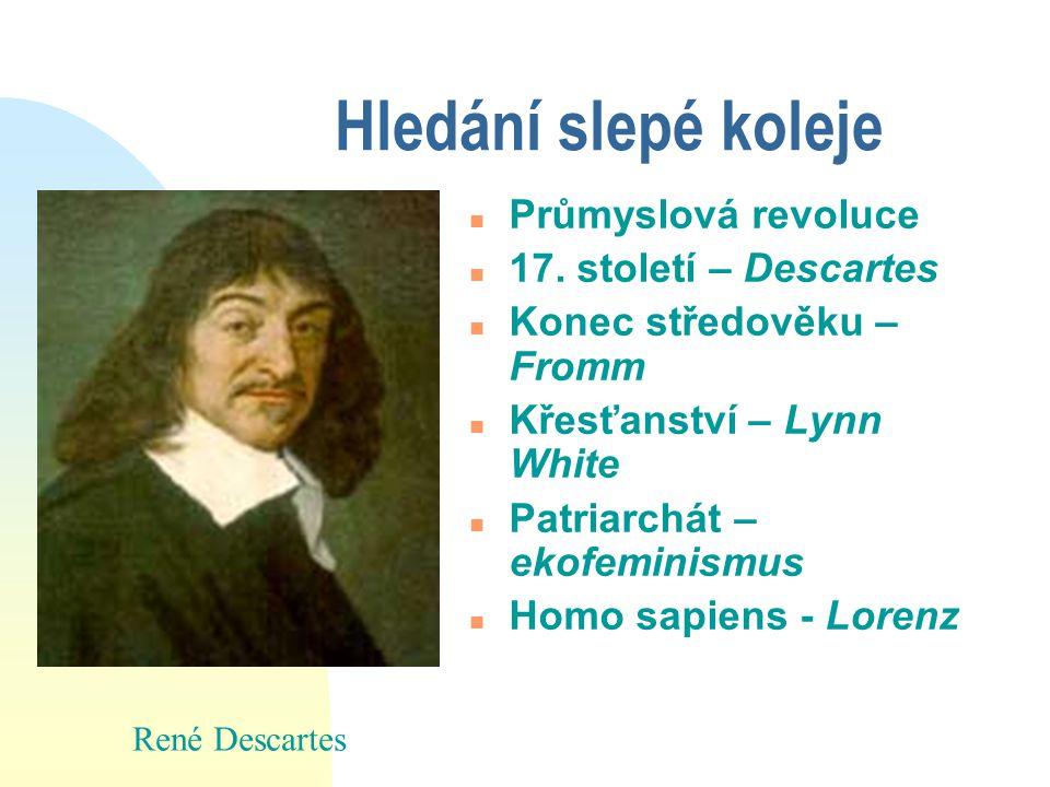 Hledání slepé koleje n Průmyslová revoluce n 17. století – Descartes n Konec středověku – Fromm n Křesťanství – Lynn White n Patriarchát – ekofeminism
