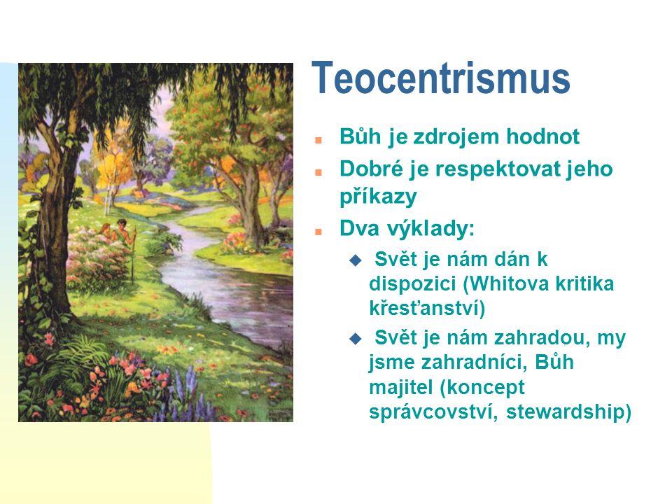 Teocentrismus n Bůh je zdrojem hodnot n Dobré je respektovat jeho příkazy n Dva výklady: u Svět je nám dán k dispozici (Whitova kritika křesťanství) u Svět je nám zahradou, my jsme zahradníci, Bůh majitel (koncept správcovství, stewardship)