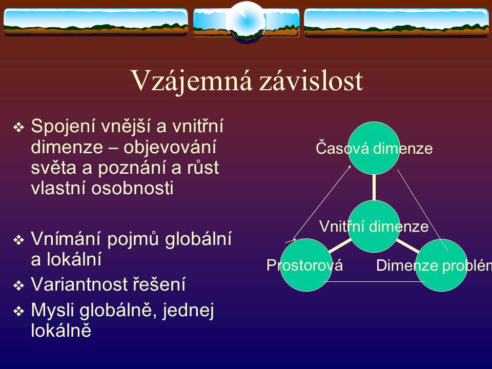 Vzájemná závislost  Spojení vnější a vnitřní dimenze – objevování světa a poznání a růst vlastní osobnosti  Vnímání pojmů globální a lokální  Variantnost řešení  Mysli globálně, jednej lokálně Vnitřní dimenze Časová dimenze Dimenze problémů Prostorová