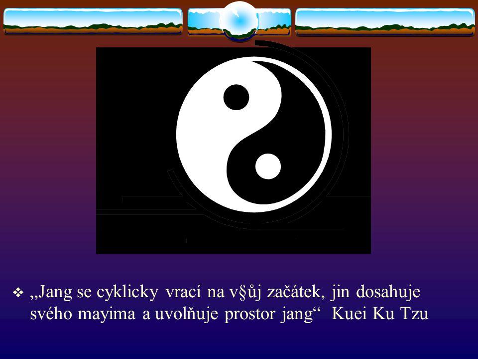 """ """"Jang se cyklicky vrací na v§ůj začátek, jin dosahuje svého mayima a uvolňuje prostor jang Kuei Ku Tzu"""