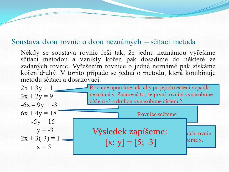 Soustava dvou rovnic o dvou neznámých – sčítací metoda Někdy se soustava rovnic řeší tak, že jednu neznámou vyřešíme sčítací metodou a vzniklý kořen p