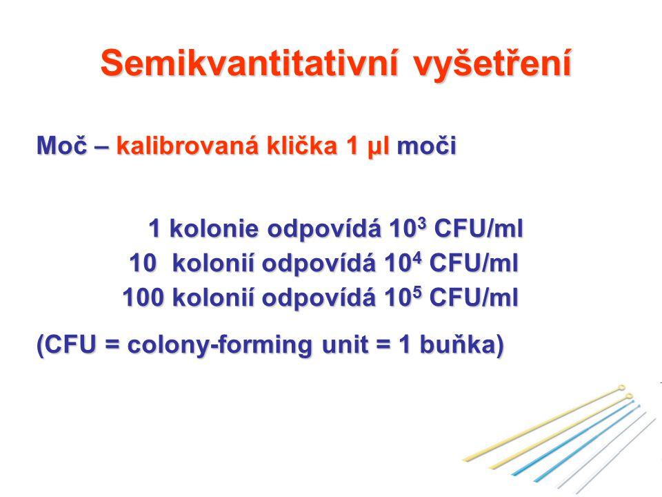 Semikvantitativní vyšetření Moč – kalibrovaná klička 1 μl moči 1 kolonie odpovídá 10 3 CFU/ml 1 kolonie odpovídá 10 3 CFU/ml 10 kolonií odpovídá 10 4 CFU/ml 10 kolonií odpovídá 10 4 CFU/ml 100 kolonií odpovídá 10 5 CFU/ml 100 kolonií odpovídá 10 5 CFU/ml (CFU = colony-forming unit = 1 buňka)