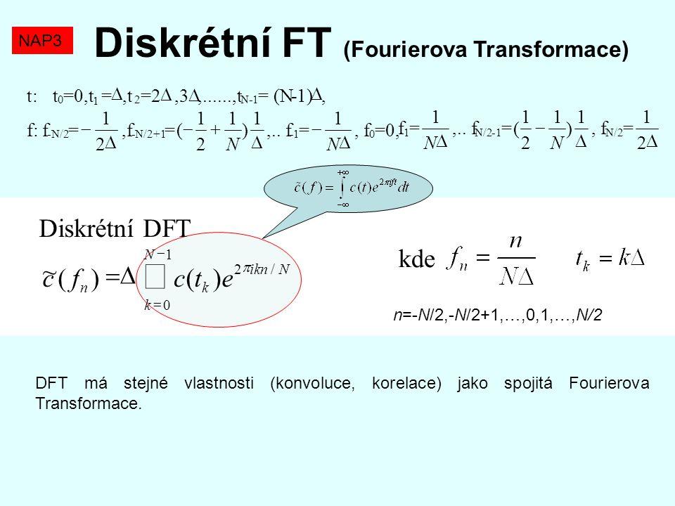 Diskrétní FT (Fourierova Transformace) DFT má stejné vlastnosti (konvoluce, korelace) jako spojitá Fourierova Transformace. NAP3 Diskrétní DFT    