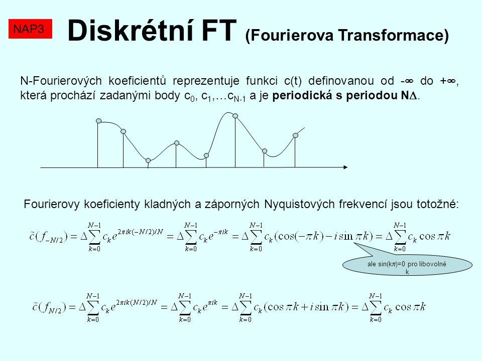 Diskrétní FT (Fourierova Transformace) N-Fourierových koeficientů reprezentuje funkci c(t) definovanou od -  do + , která prochází zadanými body c 0