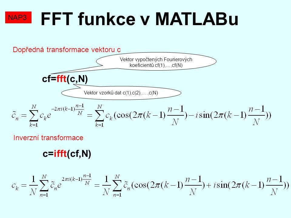 FFT funkce v MATLABu Dopředná transformace vektoru c cf=fft(c,N) Inverzní transformace c=ifft(cf,N) Vektor vzorků dat c(1),c(2),….,c(N) Vektor vypočte