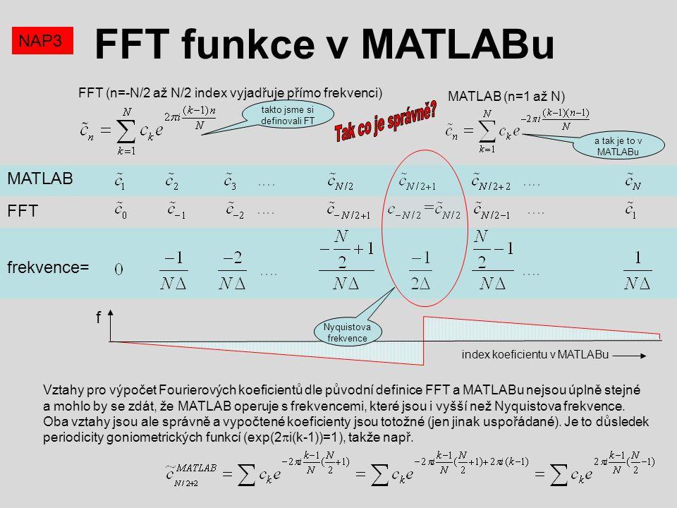 FFT funkce v MATLABu NAP3 MATLAB (n=1 až N) FFT (n=-N/2 až N/2 index vyjadřuje přímo frekvenci) Vztahy pro výpočet Fourierových koeficientů dle původn