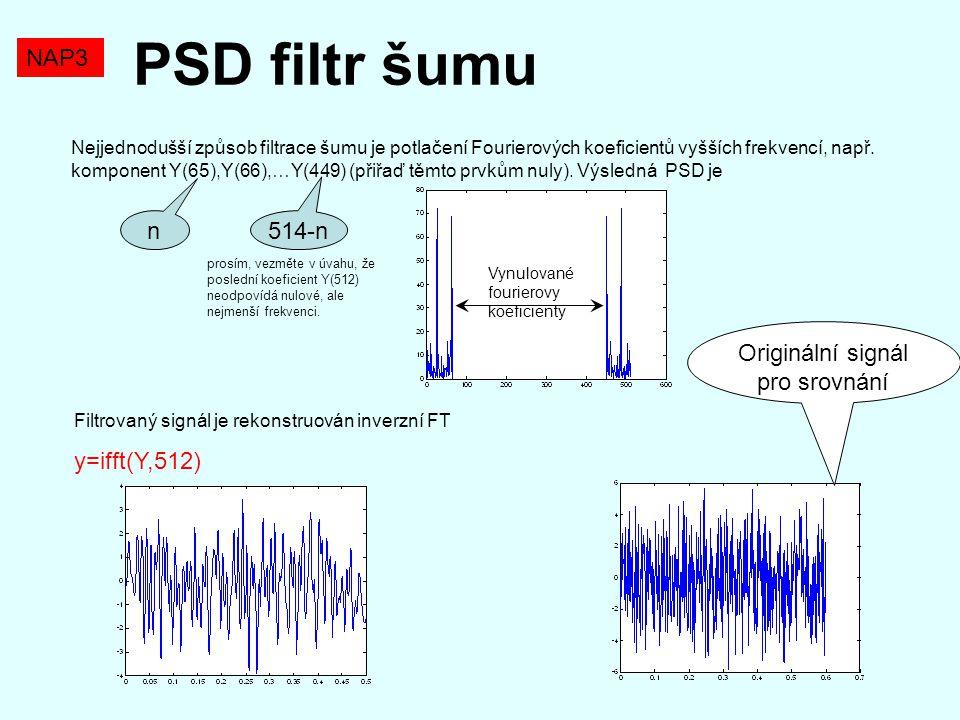 PSD filtr šumu Nejjednodušší způsob filtrace šumu je potlačení Fourierových koeficientů vyšších frekvencí, např. komponent Y(65),Y(66),…Y(449) (přiřaď