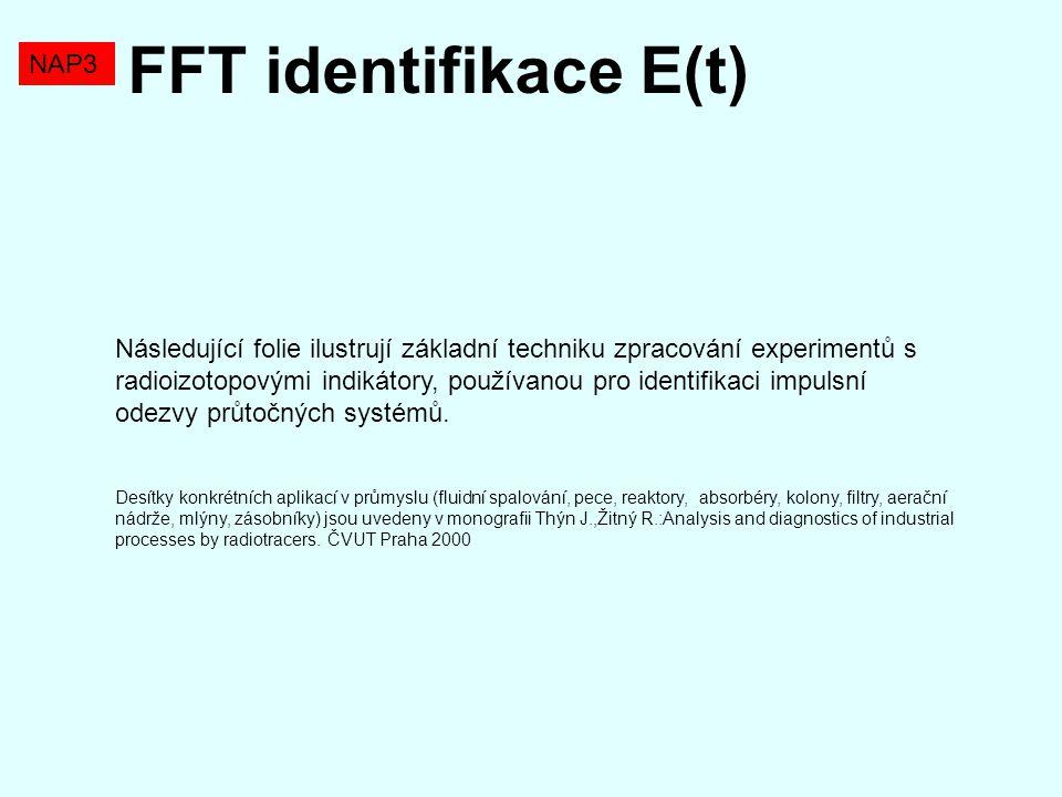 FFT identifikace E(t) NAP3 Následující folie ilustrují základní techniku zpracování experimentů s radioizotopovými indikátory, používanou pro identifi