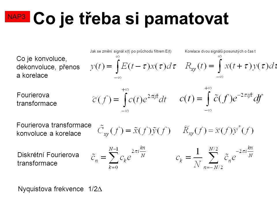 NAP3 Co je třeba si pamatovat Co je konvoluce, dekonvoluce, přenos a korelace Fourierova transformace Fourierova transformace konvoluce a korelace Dis