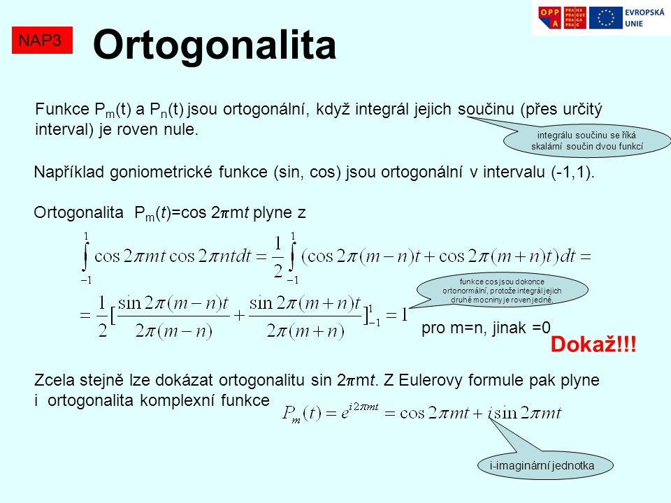 Například goniometrické funkce (sin, cos) jsou ortogonální v intervalu (-1,1). Ortogonalita P m (t)=cos 2  mt plyne z pro m=n, jinak =0 Zcela stejně