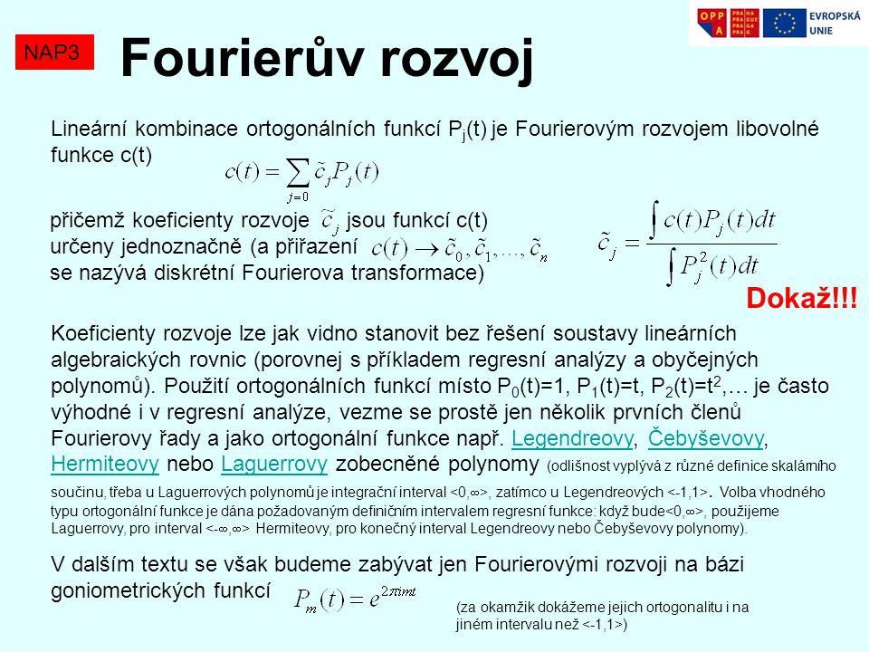 Lineární kombinace ortogonálních funkcí P j (t) je Fourierovým rozvojem libovolné funkce c(t) NAP3 Fourierův rozvoj přičemž koeficienty rozvoje jsou f