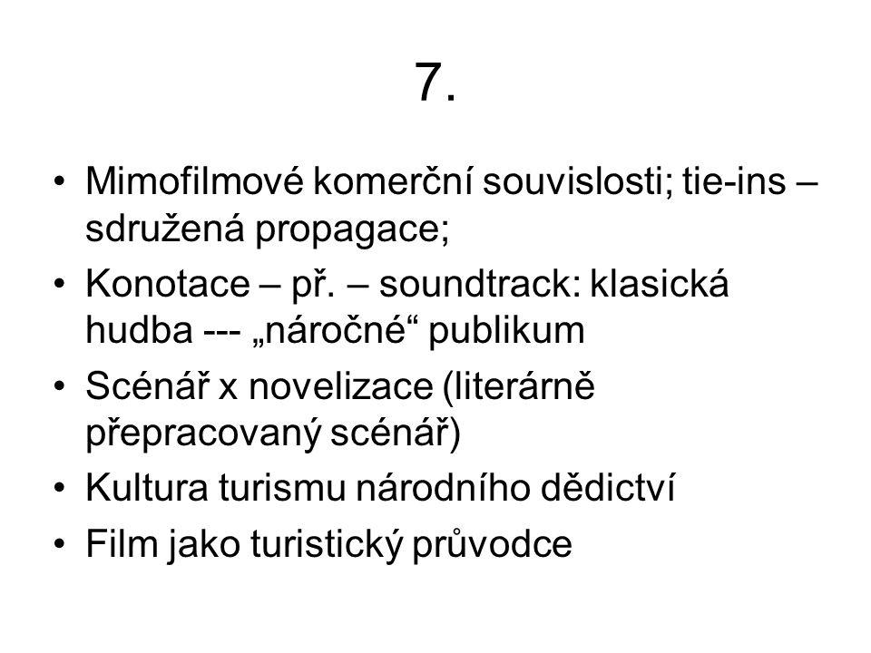 7. Mimofilmové komerční souvislosti; tie-ins – sdružená propagace; Konotace – př.