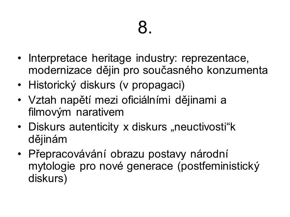 8. Interpretace heritage industry: reprezentace, modernizace dějin pro současného konzumenta Historický diskurs (v propagaci) Vztah napětí mezi oficiá