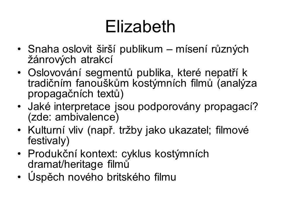 Elizabeth Snaha oslovit širší publikum – mísení různých žánrových atrakcí Oslovování segmentů publika, které nepatří k tradičním fanouškům kostýmních filmů (analýza propagačních textů) Jaké interpretace jsou podporovány propagací.