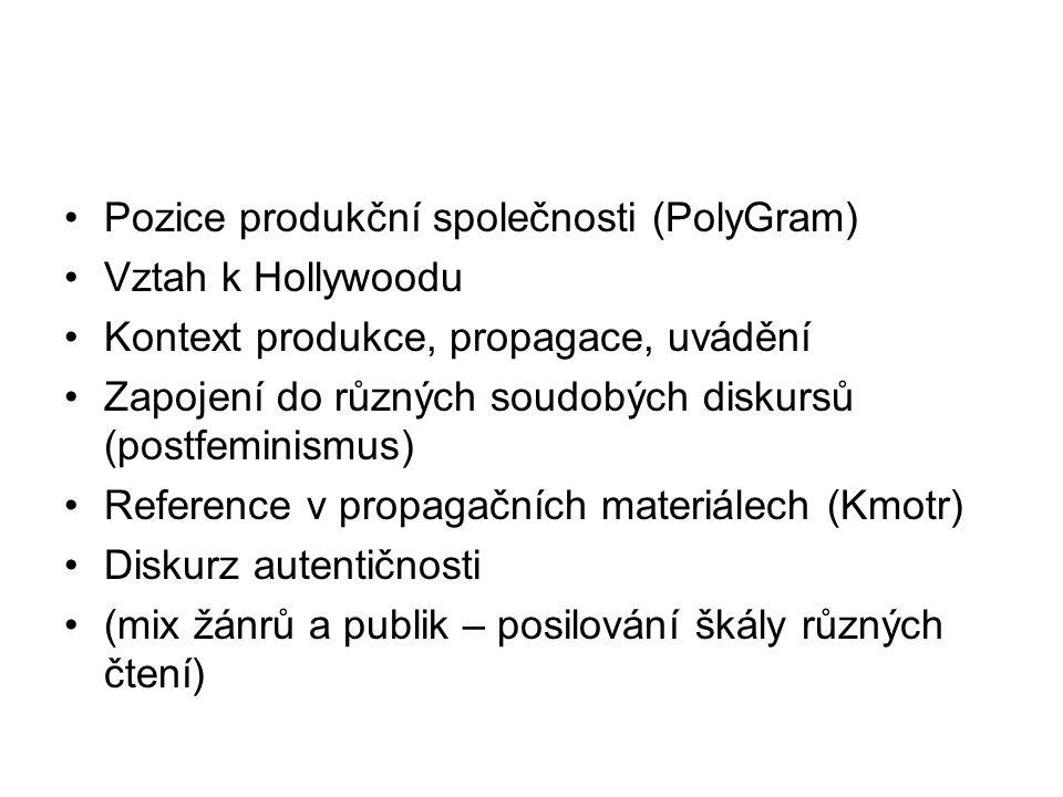 Pozice produkční společnosti (PolyGram) Vztah k Hollywoodu Kontext produkce, propagace, uvádění Zapojení do různých soudobých diskursů (postfeminismus) Reference v propagačních materiálech (Kmotr) Diskurz autentičnosti (mix žánrů a publik – posilování škály různých čtení)