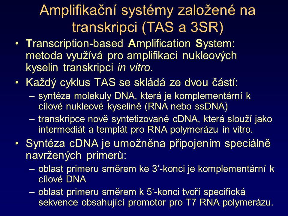 Amplifikační systémy založené na transkripci (TAS a 3SR) Transcription-based Amplification System: metoda využívá pro amplifikaci nukleových kyselin t