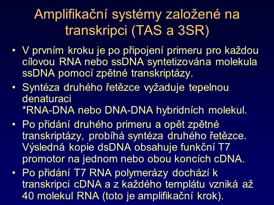 Amplifikační systémy založené na transkripci (TAS a 3SR) V prvním kroku je po připojení primeru pro každou cílovou RNA nebo ssDNA syntetizována moleku