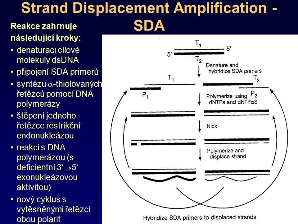 Strand Displacement Amplification - SDA Reakce zahrnuje následující kroky: denaturaci cílové molekuly dsDNA připojení SDA primerů syntézu  -thiolovan