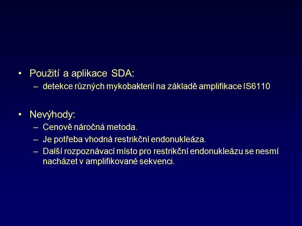 Použití a aplikace SDA: –detekce různých mykobakterií na základě amplifikace IS6110 Nevýhody: –Cenově náročná metoda. –Je potřeba vhodná restrikční en