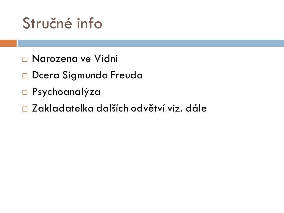 Stručné info  Narozena ve Vídni  Dcera Sigmunda Freuda  Psychoanalýza  Zakladatelka dalších odvětví viz.