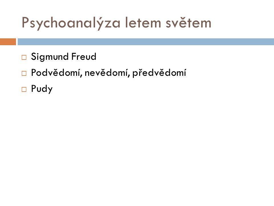Psychoanalýza letem světem  Sigmund Freud  Podvědomí, nevědomí, předvědomí  Pudy