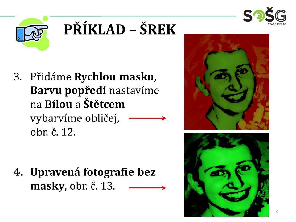 PŘÍKLAD – ŠREK 3.Přidáme Rychlou masku, Barvu popředí nastavíme na Bílou a Štětcem vybarvíme obličej, obr. č. 12. 4.Upravená fotografie bez masky, obr