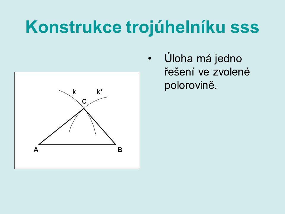 Konstrukce trojúhelníku sss Úloha má jedno řešení ve zvolené polorovině.