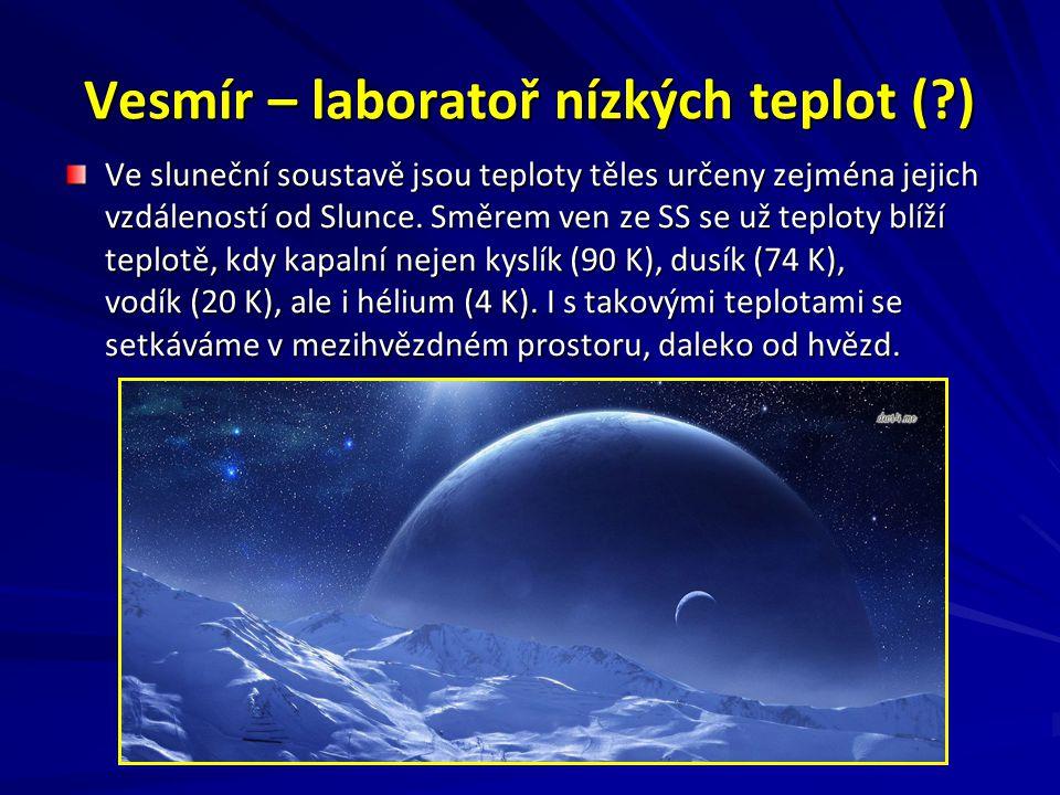 Vesmír – laboratoř nízkých teplot (?) Ve sluneční soustavě jsou teploty těles určeny zejména jejich vzdáleností od Slunce.