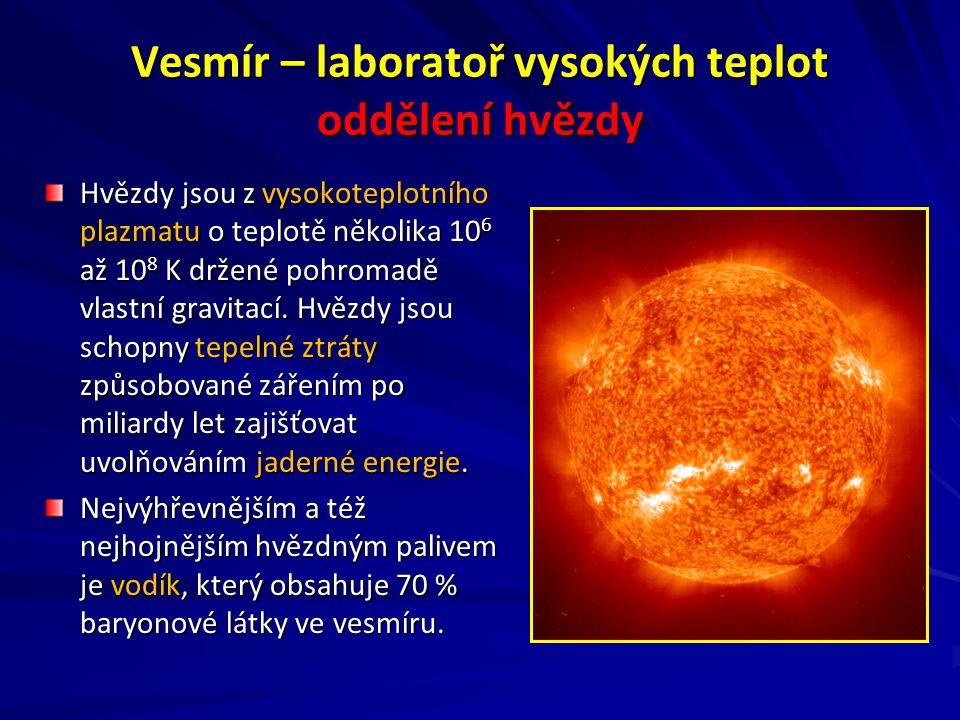 Vesmír – laboratoř vysokých teplot oddělení hvězdy Hvězdy jsou z vysokoteplotního plazmatu o teplotě několika 10 6 až 10 8 K držené pohromadě vlastní gravitací.
