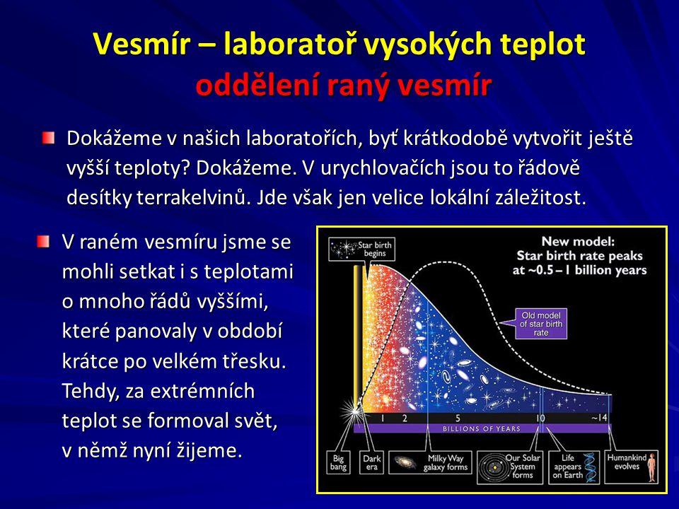 Vesmír – laboratoř vysokých teplot oddělení raný vesmír Dokážeme v našich laboratořích, byť krátkodobě vytvořit ještě vyšší teploty.