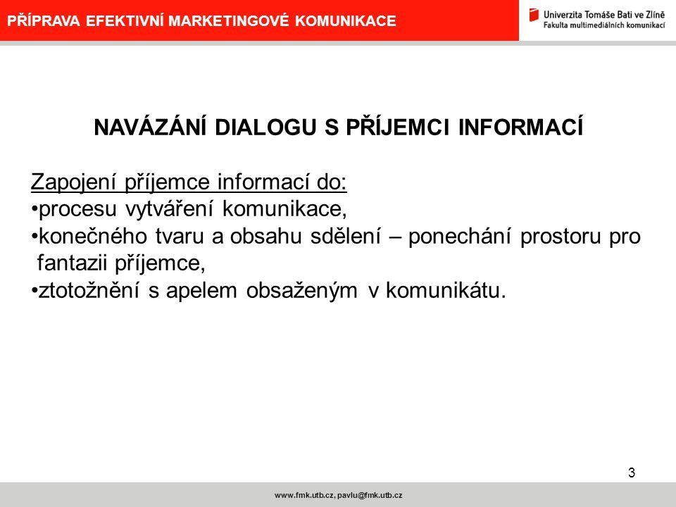 3 www.fmk.utb.cz, pavlu@fmk.utb.cz PŘÍPRAVA EFEKTIVNÍ MARKETINGOVÉ KOMUNIKACE NAVÁZÁNÍ DIALOGU S PŘÍJEMCI INFORMACÍ Zapojení příjemce informací do: pr