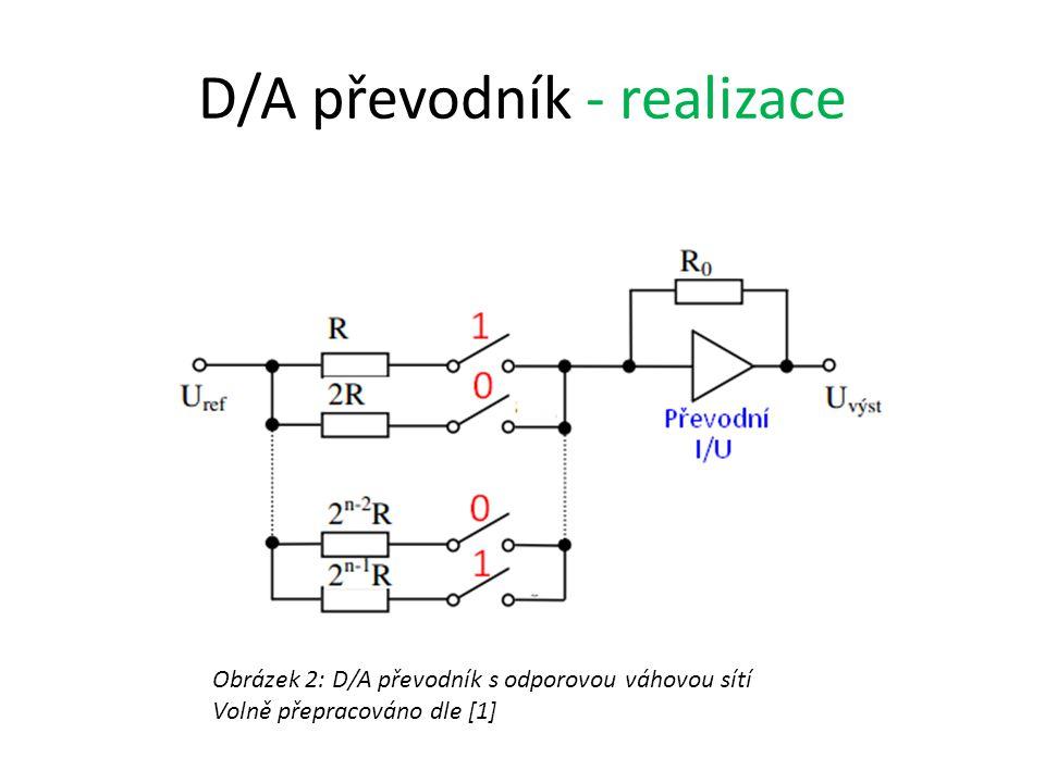 D/A převodník - realizace Obrázek 2: D/A převodník s odporovou váhovou sítí Volně přepracováno dle [1]